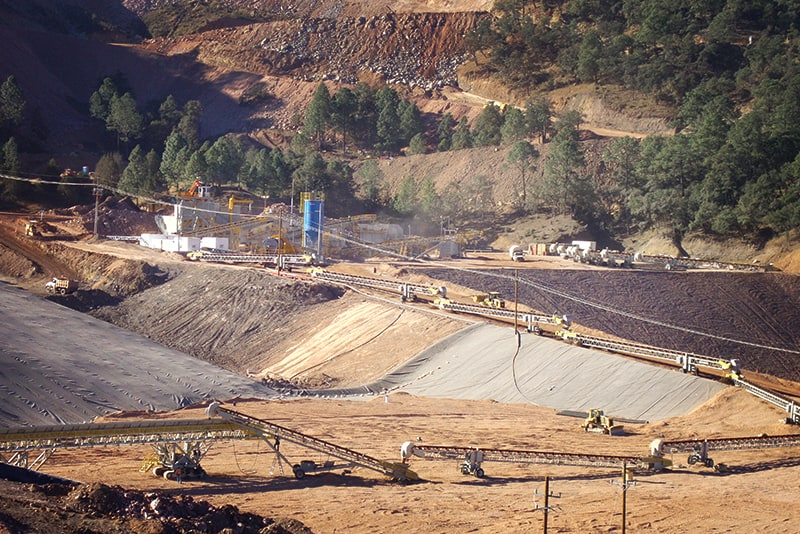 Large mining operation featuring grasshopper conveyors